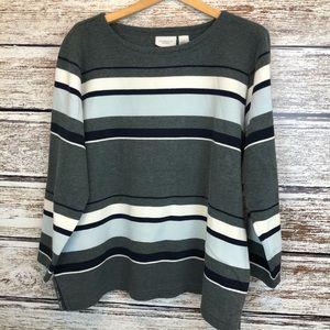 Liz Claiborne Gray White Black Striped sweater 2X